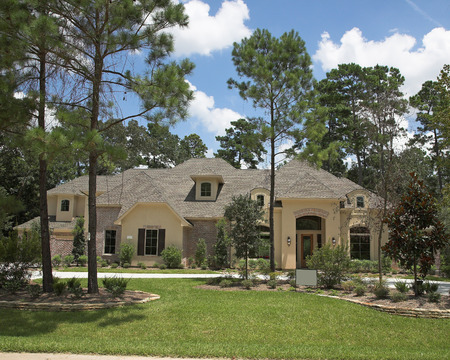 New million dollar homes in affluent neighborhood, sales are steady Stock Photo