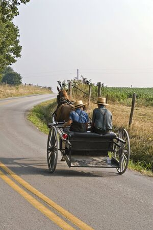 Two amish boys ridiing in a on a horse & buggy going down a rual road from one farm to another to visit a friend