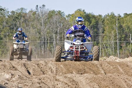 thrilling: Fast pace motocross race, one man in the lead