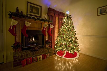 Home for Chritmas, moms got the house decorated, tree lit up, waiting for santa Stock Photo