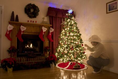 Home for Christmas, moms got the house decorated, tree lit up, waiting for  to arrive, memory of grandpa still lingers Stock Photo - 2316781