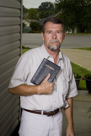 inviting: Local church preacher inviting neighbors to hear the gospel