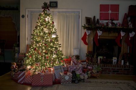 feasts: Home for Christmas, moms got the house decorated, tree lit up, waiting for santa
