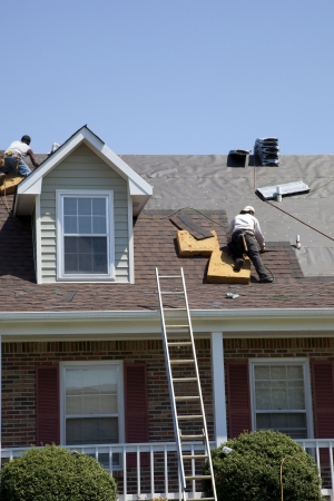 roof shingles: Roofers replacing damaged shingles after storm