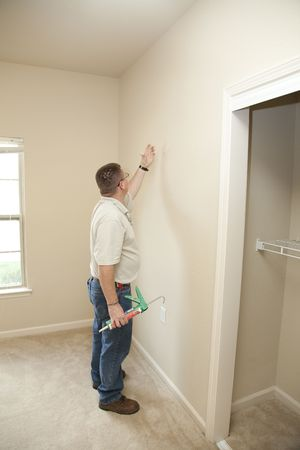 Contractor Caulking Around Glass Door Frame, Sealing From Possible Air  Leaks, Conserving Energy,