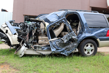 Driver lost control of vehicle well texting on cell phone, Occupants in critical condition photo