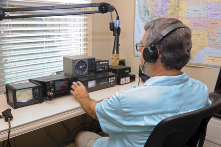 Ham radio operators are used in emergency situations to provide communications when phone lines, cell phone towers are down and power is out!,at times you can communicate with the space station! Stock Photo