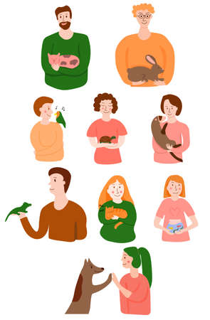 Vector set with happy pet owners. Pretty illustration for web, polygraphy, decoration, etc Vetores