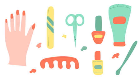 Set of manicure tools - nail polish, scissors, cream and hand. Vector illustration for stickers, shop ads, flyers, banners