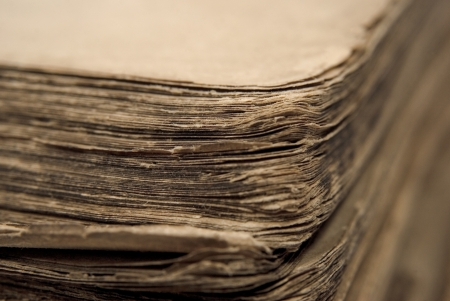 old brown sheets of the ancient book Stock Photo