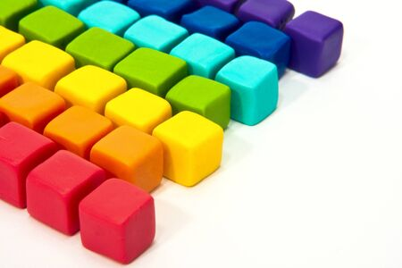 colorful cubes with paste on isolated background