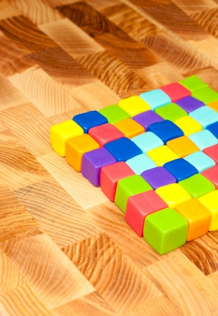 lay out: colorful cubes with paste lay out in to background