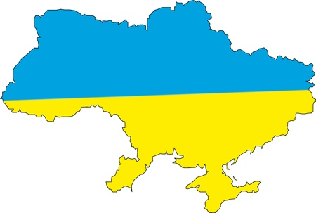 anthem: map of Ukraine with countries borders Illustration