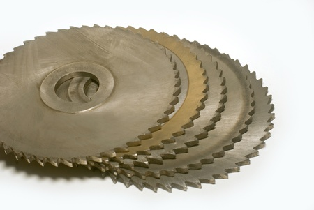 build buzz: metall circular saw blades on white background