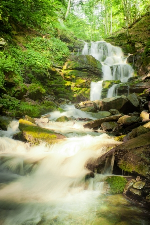 Deep forest waterfall in the Carpathian mountains, Shypit