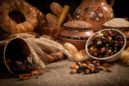 assortment of baked bread on sacking Stock Photo - 16863066