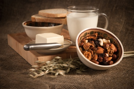 healthy  meal with bread,milk and cereals Stock Photo - 16863170
