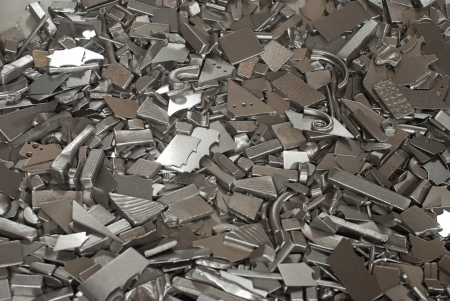 Pieces of different metallic parts for recycling photo