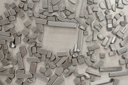 Pieces of different metallic parts for recycling Stock Photo