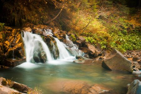 Deep forest waterfall in the Carpathian mountains, Shypit photo