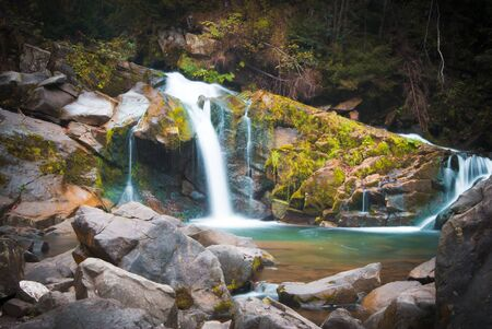 Deep forest waterfall in the Carpathian mountains, Shypit Stock Photo - 16862969