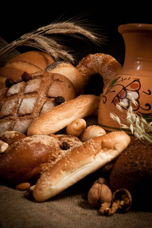 assortment of baked bread on sacking Stock Photo - 17590360