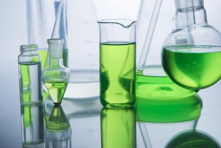 Laboratory glassware  over white background photo