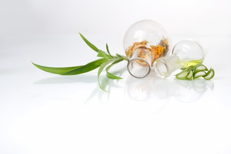 acemannan: Laboratory glassware  over white background