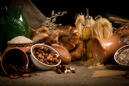 healthy  meal with bread and cereals Stock Photo - 19516062