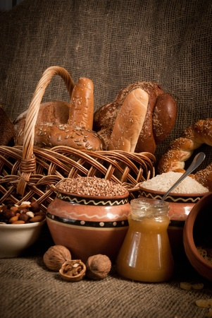 healthy  meal with bread and cereals photo