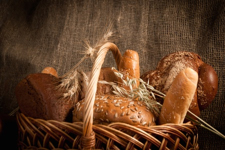 assortment of baked bread on sacking Stock Photo - 19515646