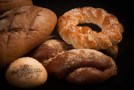 assortment of baked bread on sacking Stock Photo - 19515886