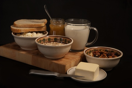 healthy  meal with bread,milk and cereals Stock Photo - 19526049
