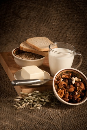 healthy  meal with bread,milk and cereals Stock Photo - 19515704