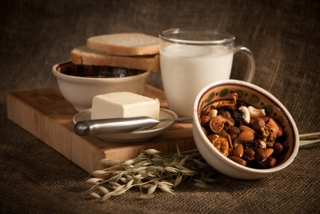 healthy  meal with bread,milk and cereals Stock Photo - 19515883