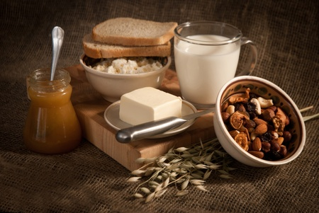 healthy  meal with bread,milk and cereals Stock Photo - 19515861