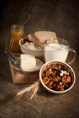 healthy meal with bread,milk and cereals Stock Photo - 19515776