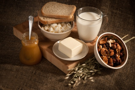 healthy  meal with bread,milk and cereals Stock Photo - 19515872