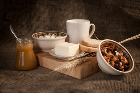 healthy  meal with bread,milk and cereals Stock Photo - 19515859