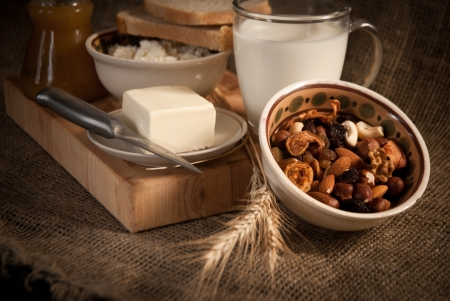 healthy meal with bread,milk and cereals Stock Photo - 19516004