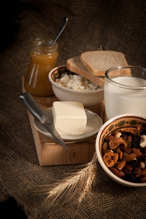 healthy meal with bread,milk and cereals Stock Photo - 19515836