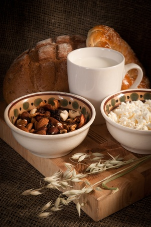 healthy  meal with bread,milk and cereals Stock Photo - 19515867