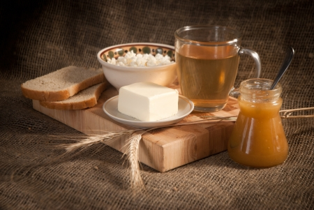 healthy meal with bread,tea and cereals Stock Photo - 19515798