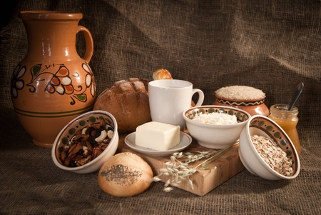 healthy  meal with bread,milk and cereals Stock Photo - 19515774