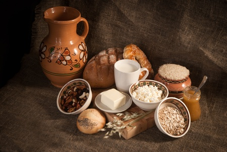healthy  meal with bread,milk and cereals Stock Photo - 19515708
