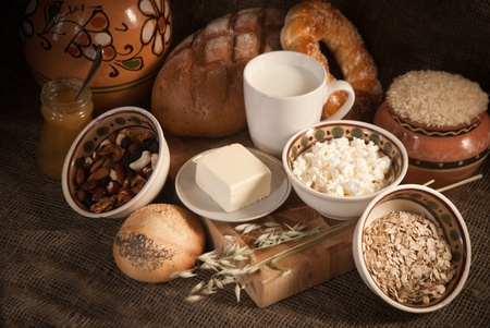 healthy  meal with bread,milk and cereals Stock Photo - 19516005