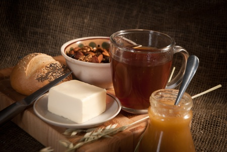 healthy meal with bread,tea and cereals Stock Photo - 19516018