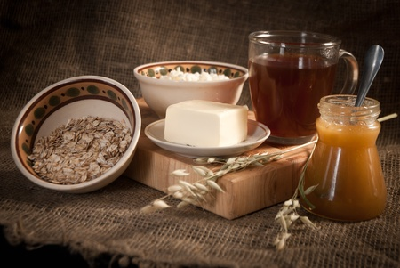 healthy meal with bread,tea and cereals Stock Photo - 19516053