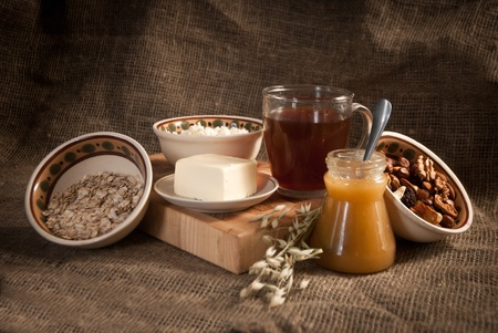 healthy meal with bread,tea and cereals Stock Photo
