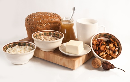 healthy  meal with bread,milk and cereals isolated Stock Photo - 19516177